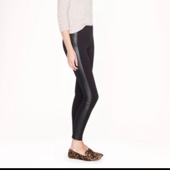 J Crew Pixie Pants with Leather Tuxedo Strip